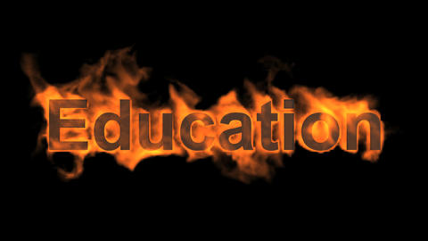 burning education word,fire text Stock Video Footage