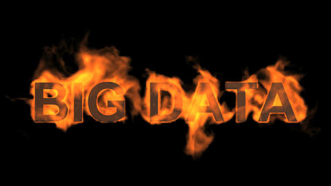 flame big data word,fire text Animation