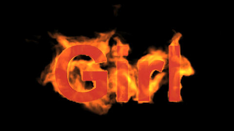 flame girl word,fire text Stock Video Footage
