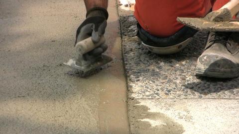 Finishing A Sidewalk Stock Video Footage