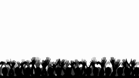 Cheering Crowd Silhouettes Stock Video Footage