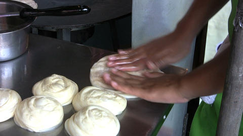 Flattening Roti Bread Dough Footage