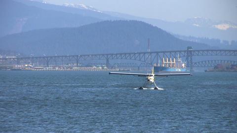 Float Plane Approaching Pier Stock Video Footage
