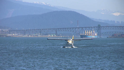 Float Plane Approaching Pier Stock Video Footage