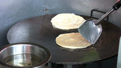 Frying Roti Bread Footage