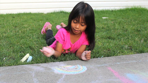 Fun With Sidewalk Chalk Stock Video Footage