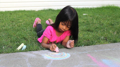 Fun With Sidewalk Chalk Stock Video Footage