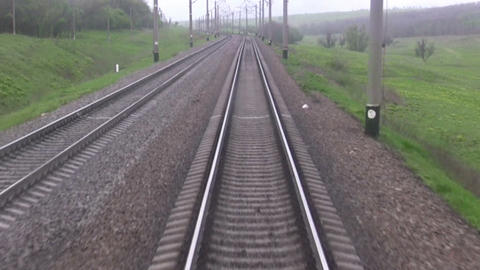 Railroad track. Forward view Footage