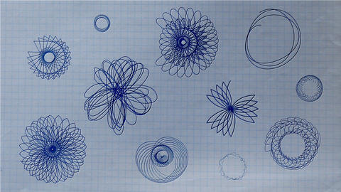 Ballpoint Pen Rosette Shapes Drawing on Paper Stock Video Footage