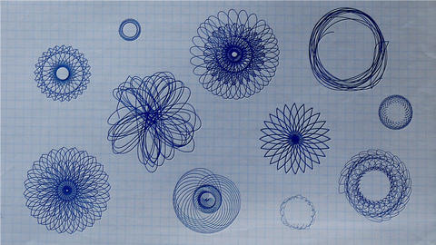 Ballpoint Pen Rosette Shapes Drawing on Paper Animation