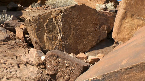 ancient rock engravings in namibia Stock Video Footage