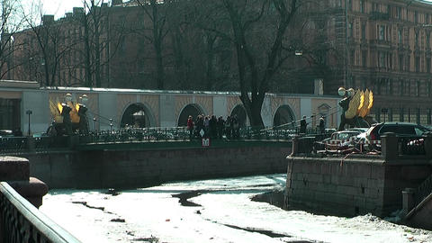 Bank Bridge In St. Petersburg In Winter stock footage
