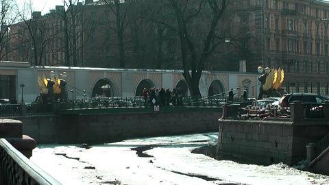 bank bridge in st. Petersburg in winter Stock Video Footage