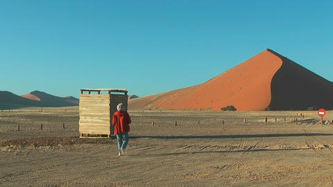 Big Red Dune At Sossusvlei In Namibian Desert stock footage