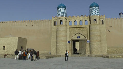 Gate and wall of Kunya Ark Citadell in Khiva Stock Video Footage