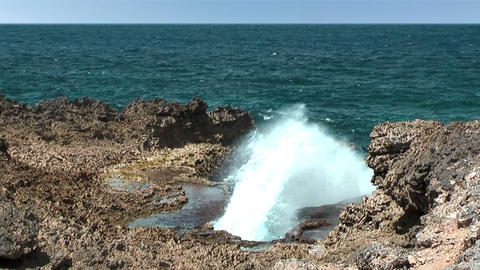 Boca Pistol blowhole Curacao Stock Video Footage