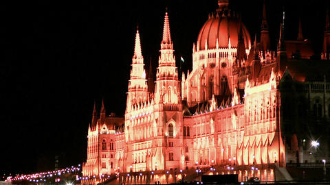 Hungarian Parliament in Budapest at night Stock Video Footage