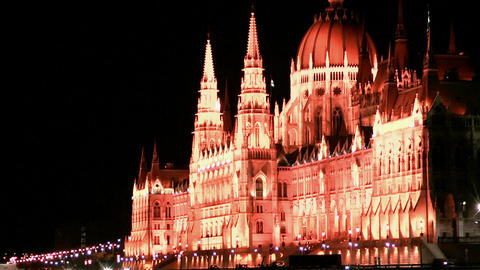Hungarian Parliament In Budapest At Night stock footage