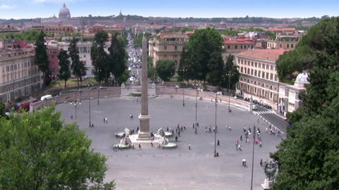 Roma. Piazza del Popolo and Via Cola di Rienzo Stock Video Footage