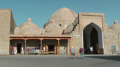 Tourists walking to Trade dome Tagi Zargaron 16-th... Stock Video Footage