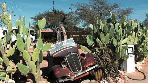 Old car wreck in namibia desert Stock Video Footage