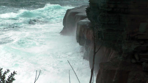 rough sea at devils kitchen in tasmania near eaglehawk... Stock Video Footage