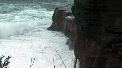 rough sea at devils kitchen in tasmania near eaglehawk neck during a stormy day Footage