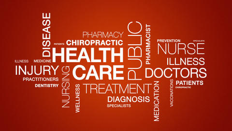 Health Care Word Cloud Animation Stock Video Footage