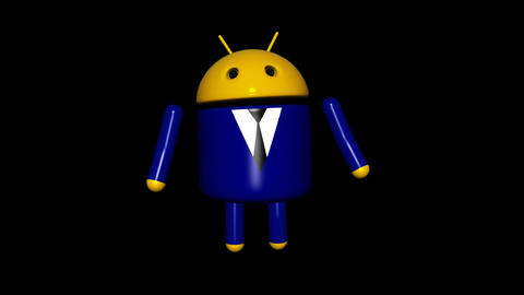 Android Robot - Business Dancing - Loop + Alpha Stock Video Footage