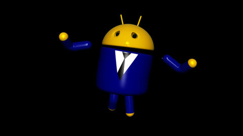 Android Robot - Business Dancing - Loop + Alpha Animation