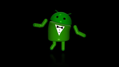 Android Robot - Show Dancing - Loop + Alpha Stock Video Footage