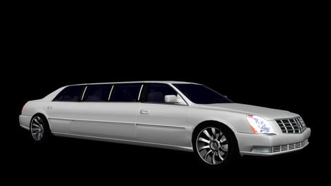 White Limousine - Loop + Alpha Stock Video Footage