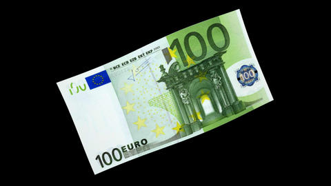 100 EUR Bill - 3D Diagonal Spinning Loop Animation