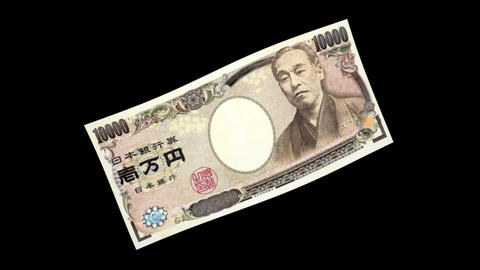 10000 JPY Bill - 3D Diagonal Spinning Loop Animation