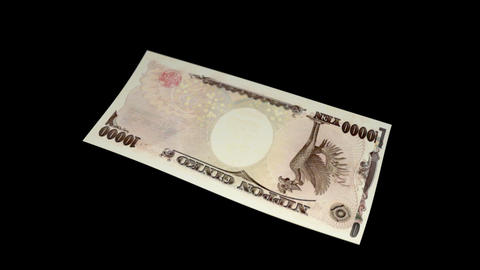 10000 JPY Bill - 3D Diagonal Spinning Loop Stock Video Footage