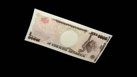 10000 JPY Bill - 3D Diagonal Spinning Loop Stock Video Footage