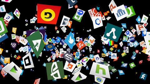 Social Media Confetti Explosion - 02 Stock Video Footage