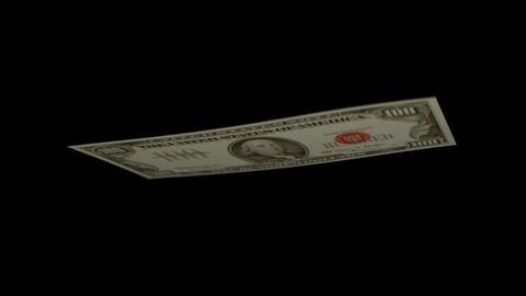100 USD Bill - 1966 - 3D Diagonal Spinning Loop Stock Video Footage