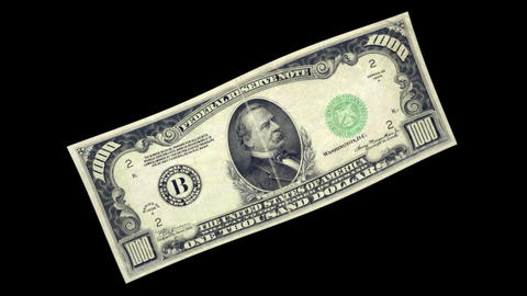 1000 USD Bill - 1934 - 3D Diagonal Spinning Loop Animation