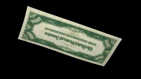 1000 USD Bill - 1934 - 3D Diagonal Spinning Loop Stock Video Footage