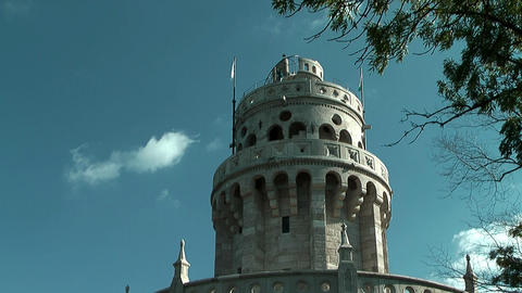 Belvedere Tower or Elisabeth Tower in the Buda Hills Stock Video Footage