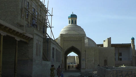 Historic medieval gate to the inner city of bukhara Stock Video Footage