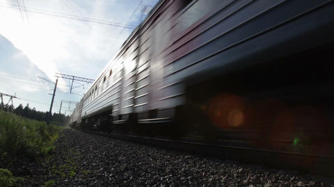 Electric passenger train in motion Stock Video Footage