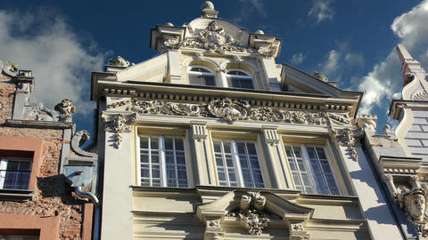 historical classical facade of old building in gdansk,poland Stock Video Footage