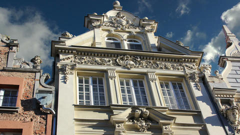 historical classical facade of old building in gdansk,poland Footage