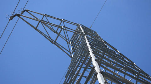Power Line Powerful Shot From Below Stock Video Footage