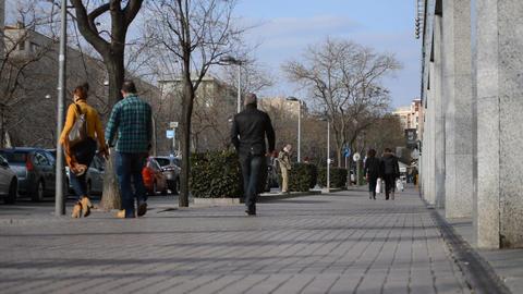 People on the Sidewalk Footage