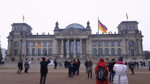 Berlin, Germany The Reichstag building facade Footage