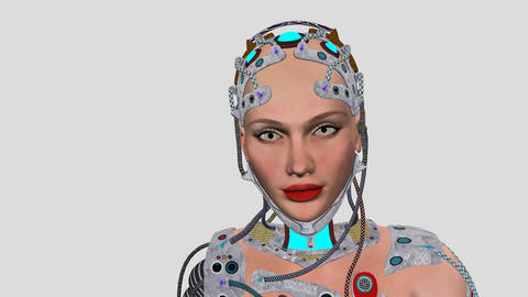 Artificial Intelligence, Animation, Tehno Woman,girl Robot , Alpha channel, tran Footage