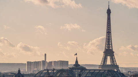 Paris, France - Timelapse - Zoom on the Eiffel Tower Footage